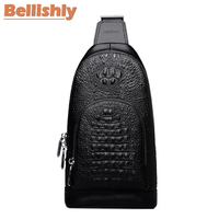 Bellishly Men's Alligator Vintage Chest Bags Male Fashion Genuine Leather Back Bag Shoulder Crossbody Purses Man Modis Designer