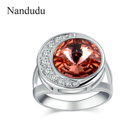 Nandudu Vintage Pink Red Austrian Crystal Ring Full Moon Crescent Moon Style Rings Jewelry Gift For