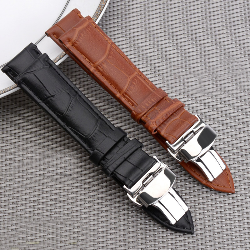 Men Women Black Brown Genuine Leather Watch strap 18mm 20mm 22mm Watch Band Butterfly Pattern Deployant stainless steel Buckle high quality 20mm 22mm 24mm leather watch strap man watch straps black brown gray stainless steel buckle thick line watch band