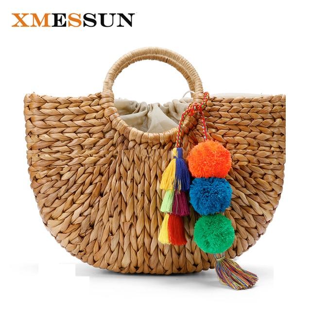 a8d29cdfa1 Beach Bag Straw Basket Totes Bag Bucket Large Big Summer Bags with Tassels Pom  Pom Women
