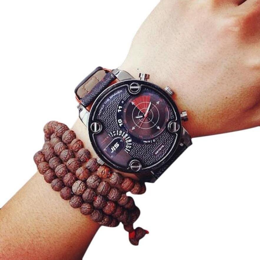 Creative Fashion Casual Men Faux Leather Quartz Analog Wrist Watch Watches saat orologio uomo relogios masculino faux leather analog wrist watch