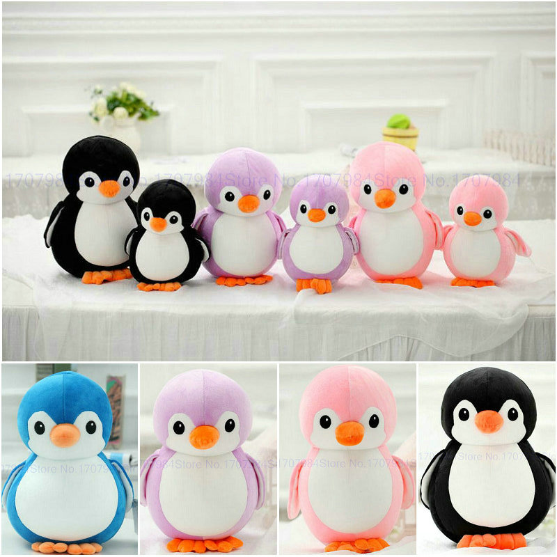 Cute Penguin Plush Toys 20-40cm  Stuffed Nanoparticle Animals birthday gift kids toys Black/blue/pink/purple blue penguin