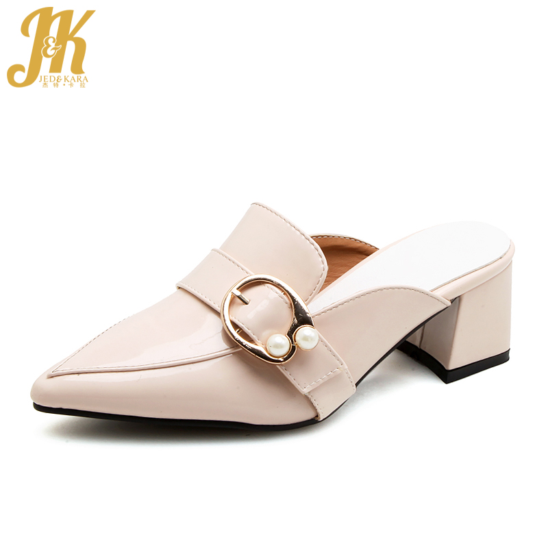 JK 2018 New Summer High Heels Women Slippers Pu Pearl Metal Decoration Pointed Toe Slides Fashion Casual Mules Female Shoes