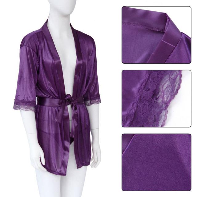1 Set Women Sexy Babydoll Lingerie Robe+G-string Satin Lace Sleepwear Nightdress Pajamas Underwear Drop Shipping Wholesale