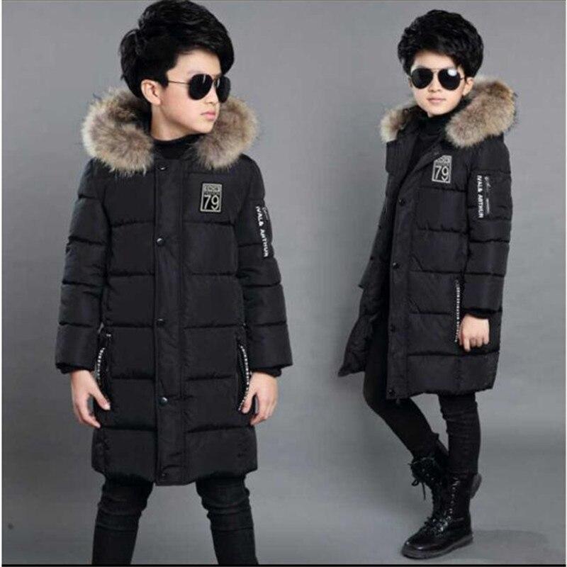 Children s clothing boy winter coat long section Thicken 2018 new children s cotton jacket High
