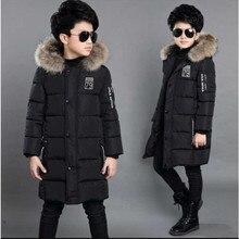 Детская одежда, зимнее пальто для мальчиков, Длинная утепленная куртка, новинка 2018 года, детская хлопковая куртка высокого качества с подкладкой из хлопка