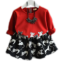 Fashion Girls Clothing Sets 2016 Korean Children Fall Long Sleeve Cartoon Cat Pullover Top Tutu Skirt Two Piece Suit 2-7Years