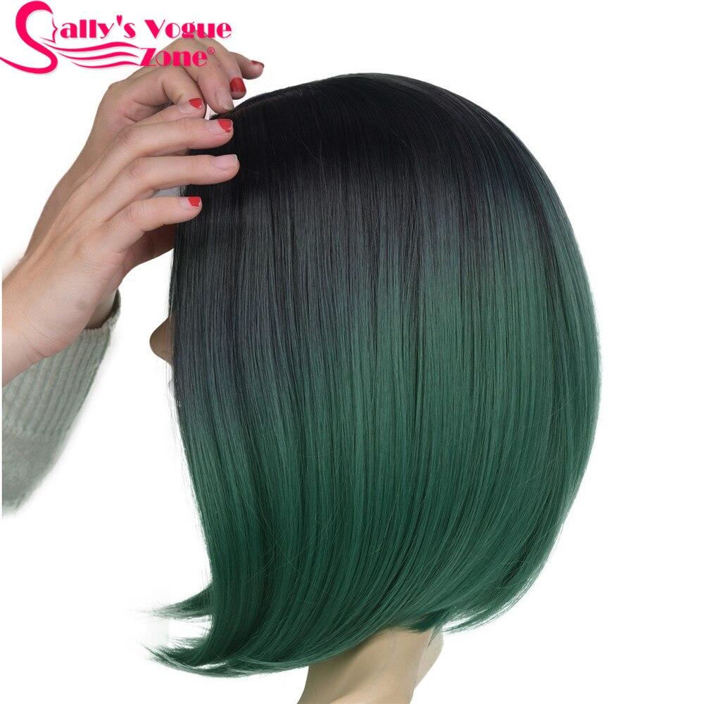 Sallyhair Hög temperatur Syntetisk Rak Kort Ombre Svart Smaragdgrön - Syntetiskt hår - Foto 2