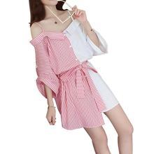 Yfashion Women Off-shoulder Stripe Patchwork Solid Summer Dress Bow Belt Fashion Color Matching Sling Dresses Female Vestidos off shoulder stripe pattern dress with waist belt