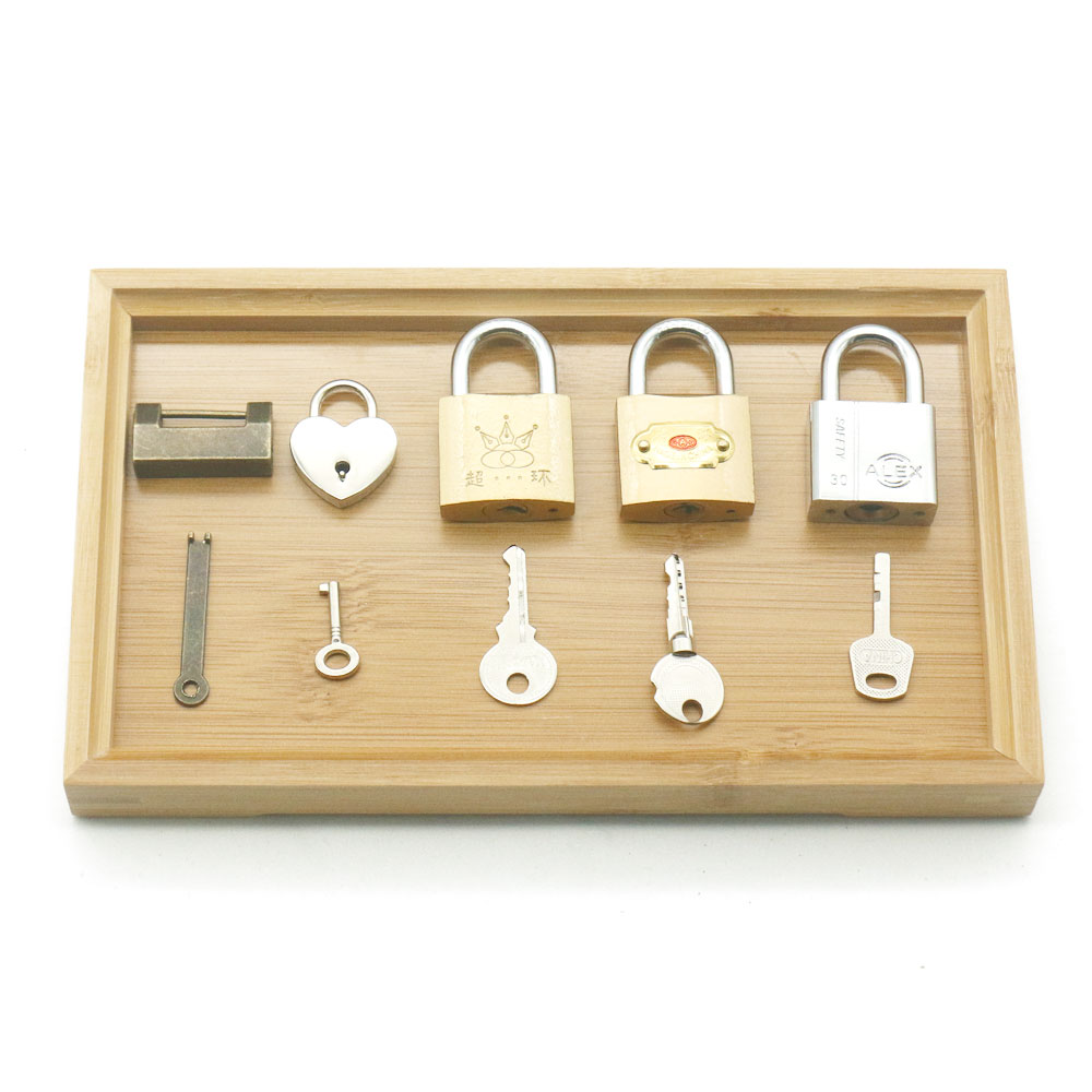 Montessori Locks And Keys With Tray Practical Life Material Educational Wooden Toys For Children Learning Toys MD1244H