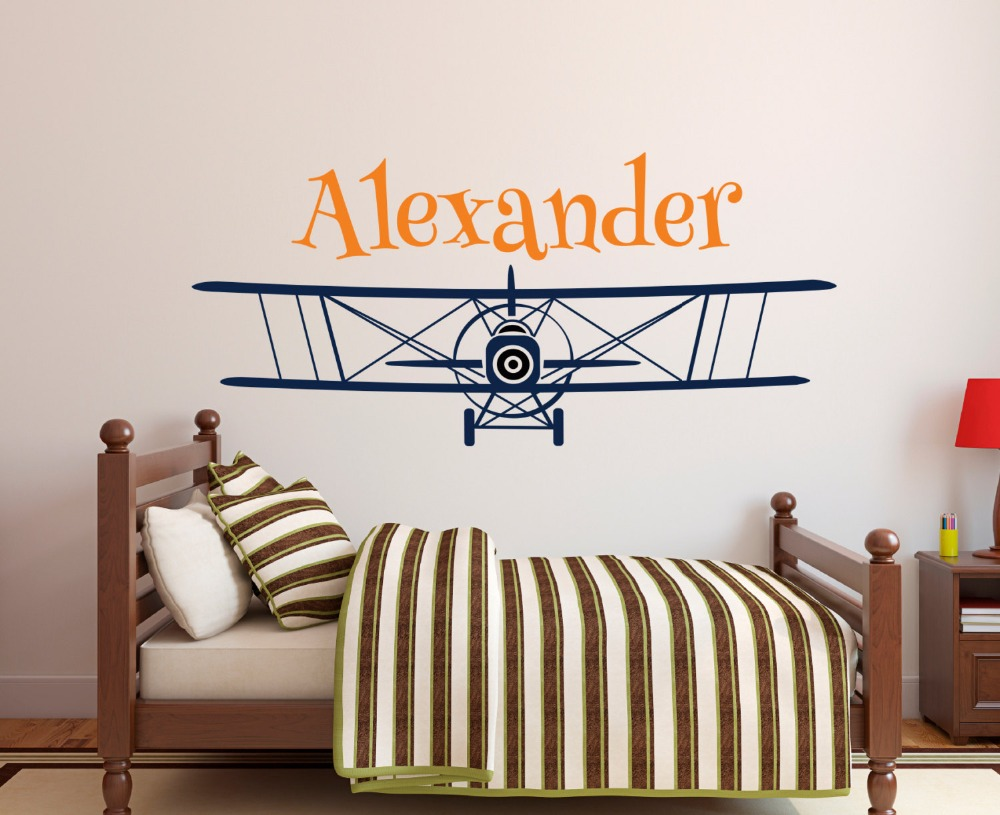US $7 82 21% OFF|Airplane Aircraft With Custom Boys Name Art Cute Wall  Murals Special Kids Bedroom Decorative Gift Vinyl Wall Stickers W 136-in  Wall