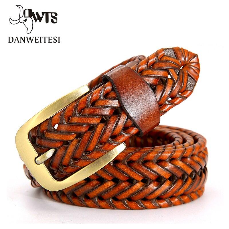 [DWTS] 2019 mode hommes ceintures de luxe en cuir véritable marron tressé véritable peau de vache sangles hommes jean large ceinture mâle 120 cm
