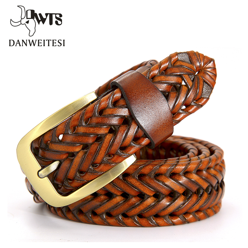 [DWTS] 2022 Fashion Mens belts luxury genuine leather Brown braided Real Cow skin straps men Jeans Wide girdle Male 120 cm