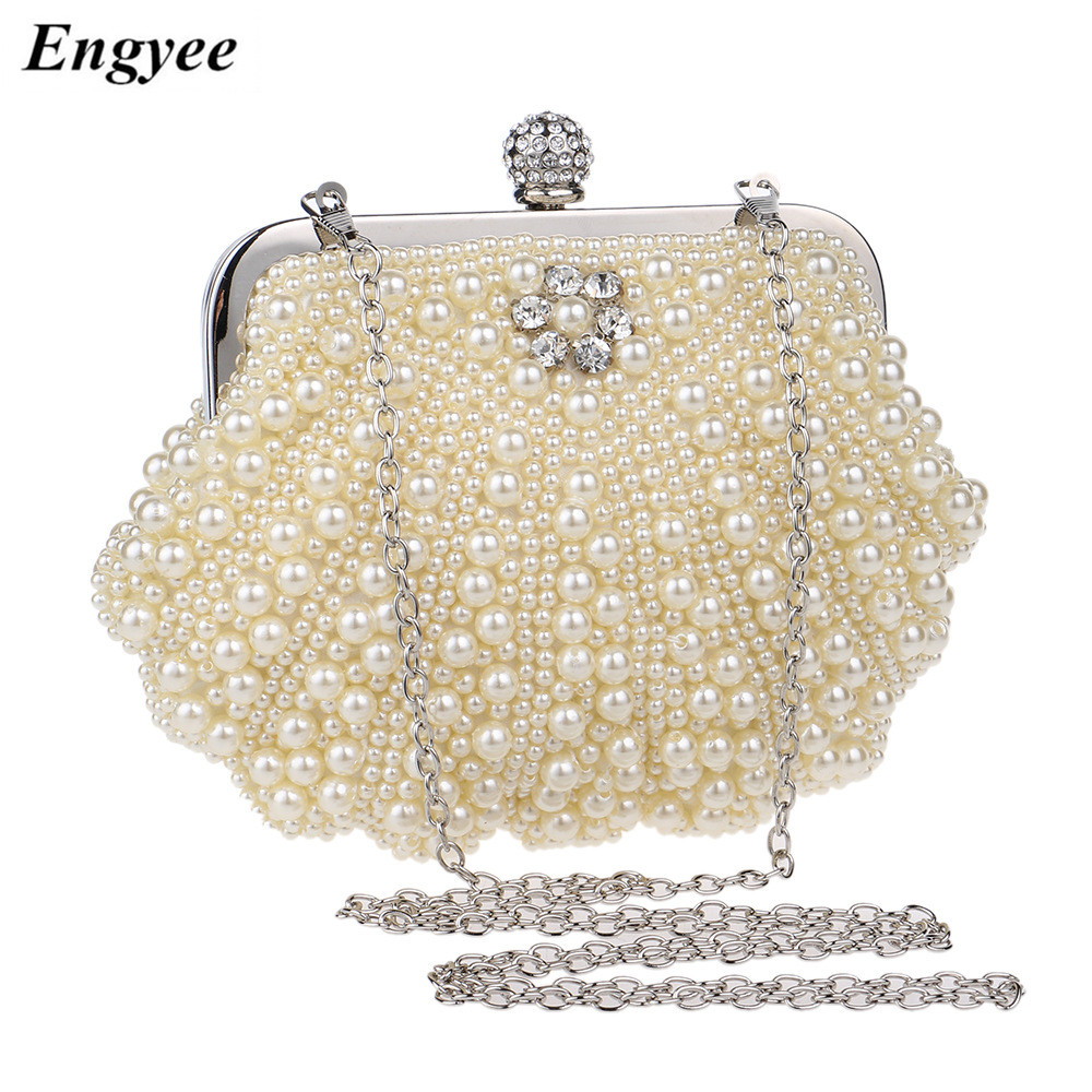 ENGYEE Women Pearl Beaded Evening Bag Ladies Diamond Clutches Purses Bags Bridal Wedding Party Small Chain Shoulder Bag Wallet