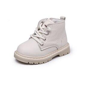 Image 3 - أحذية أطفال طويلة جلد طبيعي أحذية أطفال طويلة الرقبة الدانتيل متابعة الأطفال الثلوج الأحذية المخملية الدافئة الشتاء الأحذية