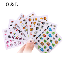 Hot Nail Art Stickers Decals 1sheet Flourescent 3d Cartoon Monster Designs Nail Tips Wraps,Adhesive Nail Decoration Tools