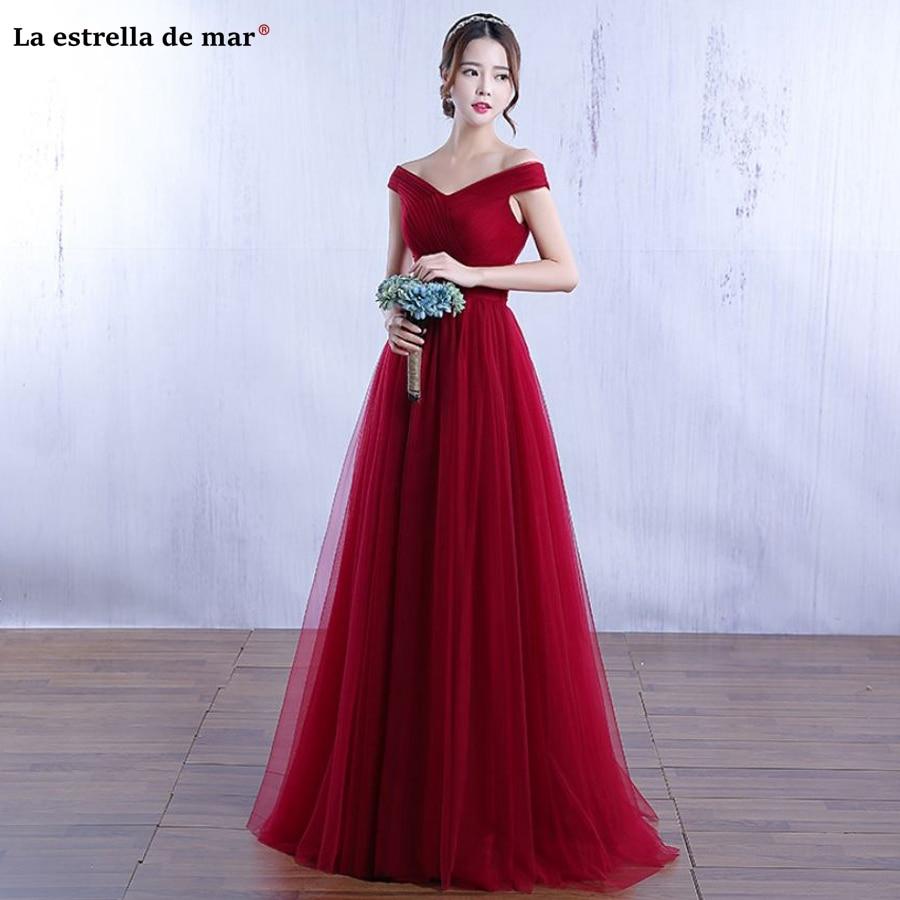 vestido madrinha 2019 new Boat Neck short sleeve A Line navy blue burgundy Blush pink   bridesmaid     dresses   long plus size