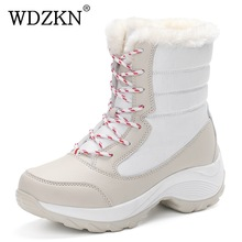 2017 women snow boots winter warm boots thick bottom platform waterproof ankle boots for women thick fur cotton shoes size 35-41