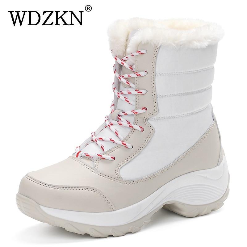 2017 منصة النساء أحذية الثلوج شتاء دافئ سميكة القاع للماء أحذية الكاحل للنساء فرو سميك القطن الحجم 35-41