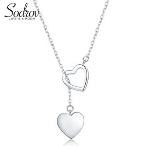 Necklace Pendant 925-Jewelry 925-Sterling-Silver Sodrov Double-Heart High-Quality Women