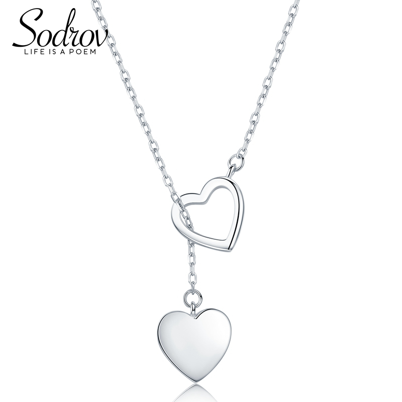 SODROV Genuine 925 Sterling Silver Double Heart Necklace Pendant High Quality Jewelry HN015