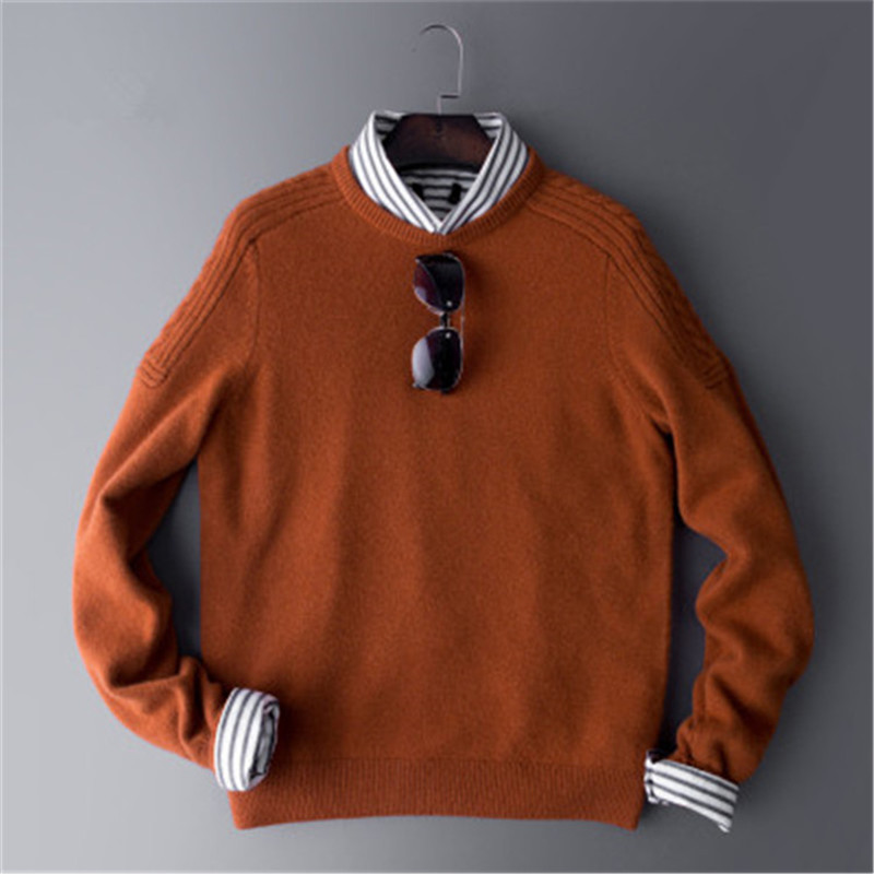 100%cashmere Knit Oneck Twist Shoulder Men Fashion Thick H-straight Pullover Sweater Solid Color S-3XL