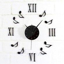 New 1pc Modern DIY Music Note Mirror Surface Wall Clock Sticker Home Office Decor Black