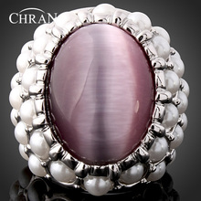 Chran Vintage Jewelry Fashion Faux Pearl Beads Ring Classic Siver Plated Opal Rings for Women vintage faux pearl embellished body chain for women