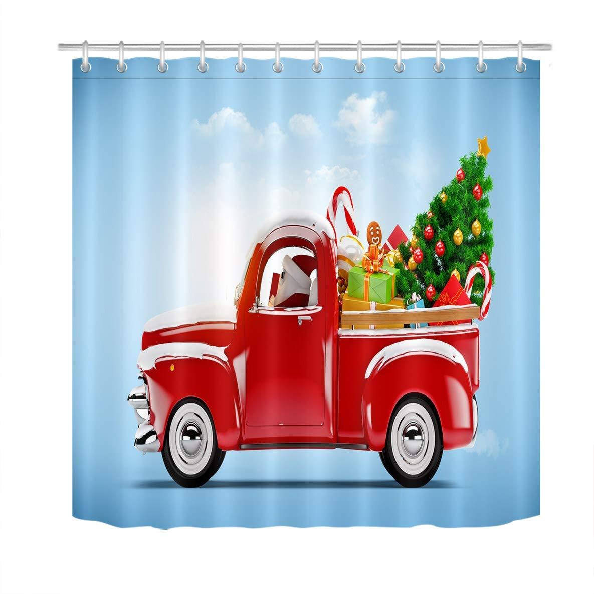 Christmas Shower Curtain Set Retro Pickup Truck Car Santa