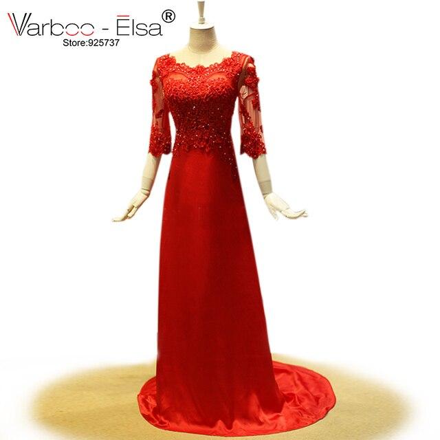 bd8d2d7cbf Vestidos de gala 2018 vestido vermelho longo bonito meia manga de cetim  vestidos de noite de