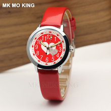 luxury kittyed casual Red love yeez-Unique children's boys girls kids Quartz wri