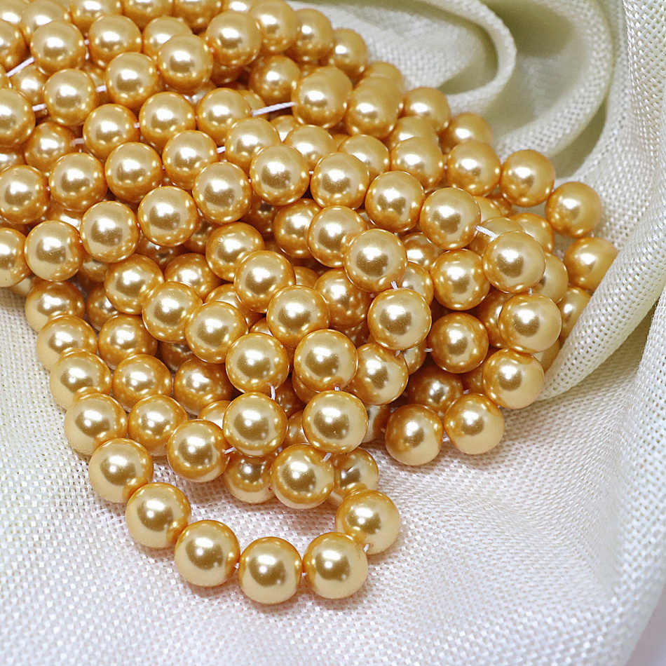 New fashion golden yellow imitation pearl shell round loose beads 4-14mm factory outlet wholesale jewelry making 15inch B1610