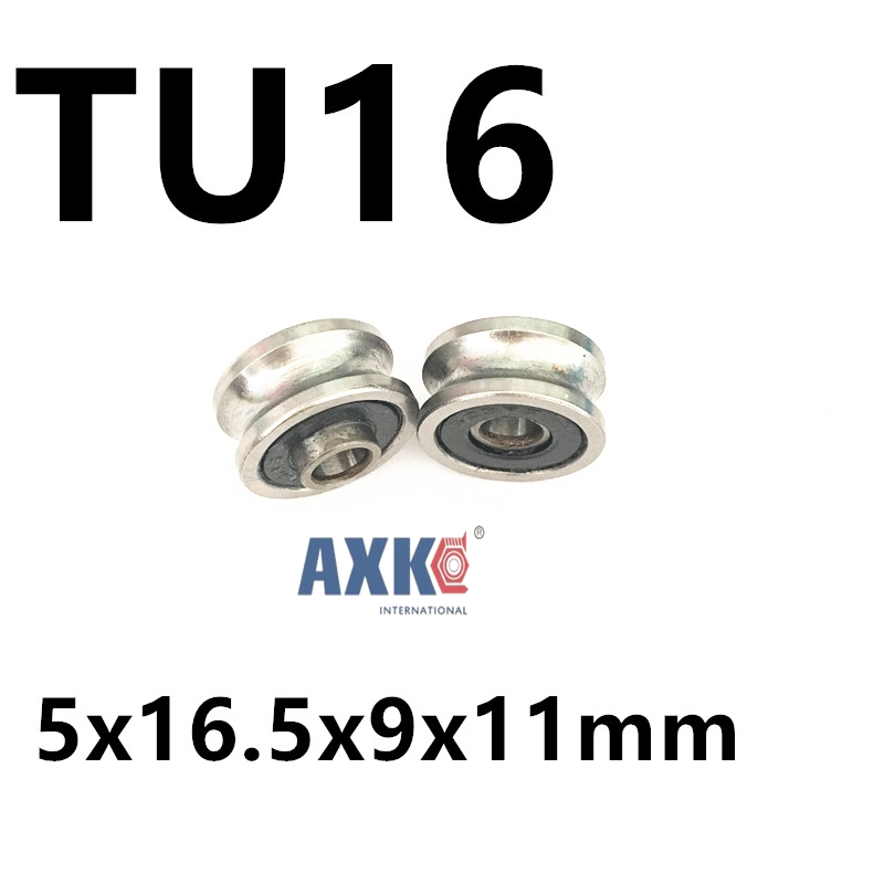 Free shipping  TU16 T16  U16 T16.5 ABEC5 6mm pulley bearings 5x16.5x9x11mm U groove roller wheel ball bearing T-U-16 3d printer flat type big plastic wheel pulley with ball bearings passive round wheel idler pulley gear perlin wheel