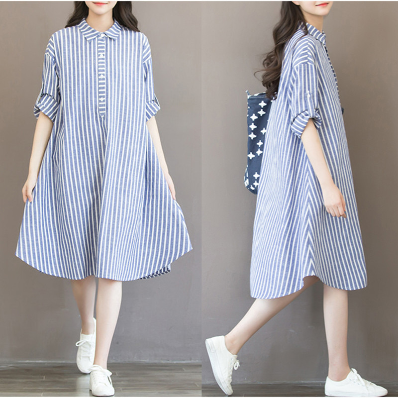 2017 new spring maternity dress large size loose pregnant women shirt shirt long paragraph spring cotton