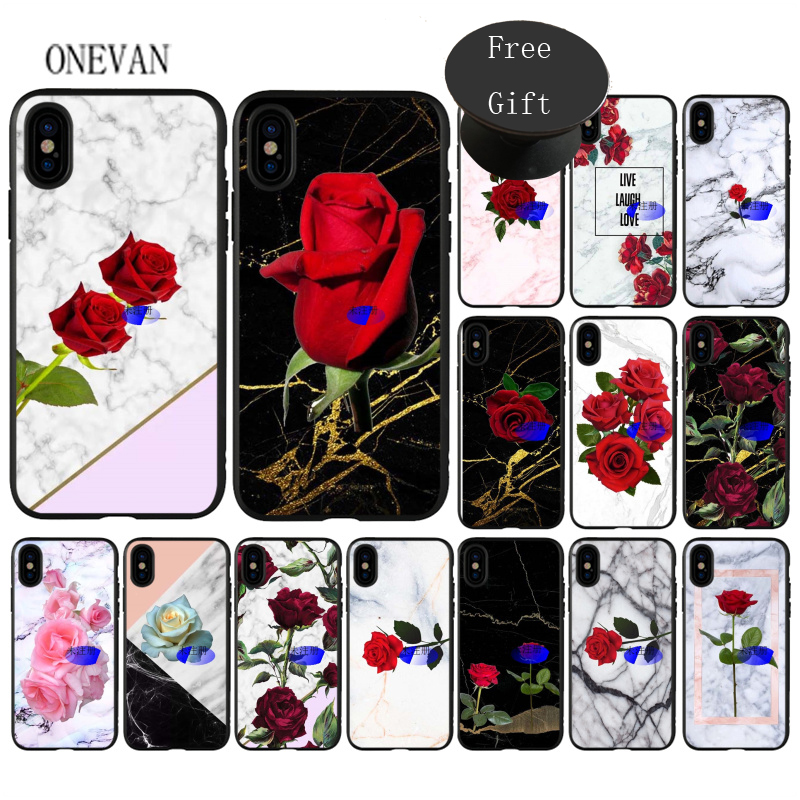 Red rose on marble with <font><b>pop</b></font> up <font><b>phone</b></font> <font><b>sockets</b></font> <font><b>black</b></font> soft <font><b>Phone</b></font> Case for iPhone 7 8 6 6S Plus X XS MAX 5 5S SE XR Cover image