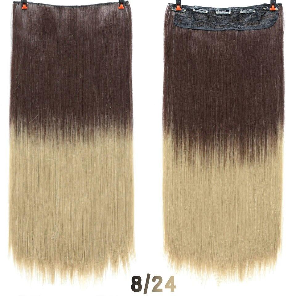 SHANGKE волосы 24 ''длинные прямые женские волосы на заколках для наращивания черный коричневый высокая температура Синтетические волосы кусок - Цвет: 6 #/27 #
