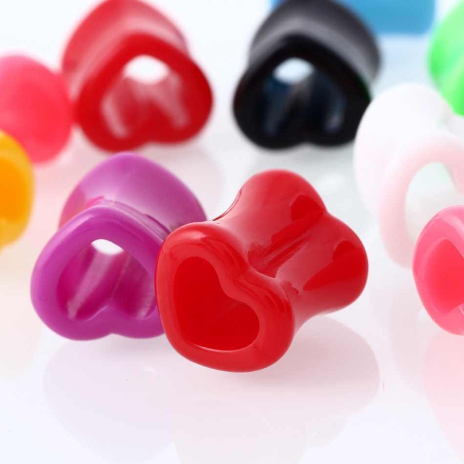 1 Pairคริลิคเสียบหูหัวใจอุโมงค์เจาะที่มีสีสันหูเนื้อปลั๊กEarletวัดเจาะร่างกายเครื่องประดับ4มิลลิเมตร-12มิลลิเมตร