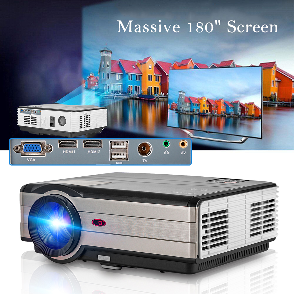 CAIWEI Digital LCD Home Theater Projector LED Proyector Short Throw Video Full HD 1080P HDMI VGA Beamer For Smartphone Laptop wzatco short throw projector daylight hdmi home theater 1080p full hd 3d dlp projector proyector beamer for church hall hotel