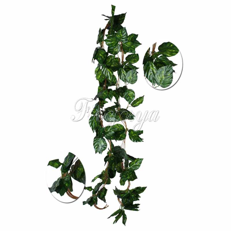 ჱ1piece Artificial Big Leaf Rhodea Ivy Vine Garland Plants Fake