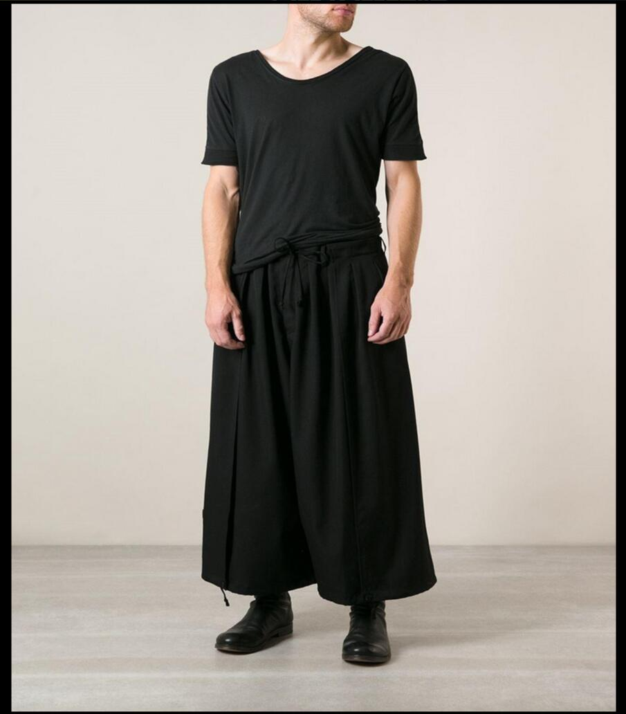 Plus Size Men Clothing Wide Leg Pants Pleated Ankle Length Trousers Hairstylist Loose Pants Singer Costumes Hot 2020 Fashion