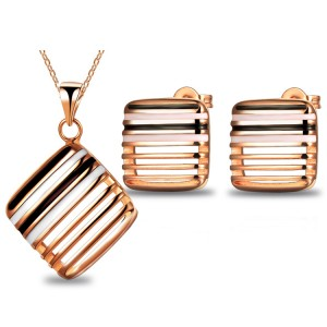 Free shipping! Wedding accessories jewelry set Square hollow out drip stud earrings necklace suits female -G196