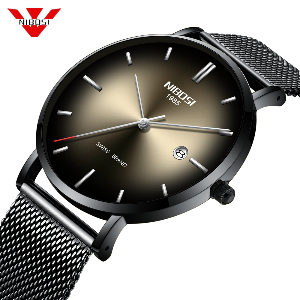 NIBOSI Fashion Mens Watches Top Brand Luxury Quartz Watch Men Casual Mesh Steel Date Waterproof Sport Watch Relogio Masculino