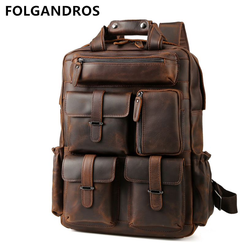 Mens Crazy Horse Genuine Leather Backpack Large Capacity Natural Leather Backpack Brand Vintage Handmade Durable Weekender BagMens Crazy Horse Genuine Leather Backpack Large Capacity Natural Leather Backpack Brand Vintage Handmade Durable Weekender Bag