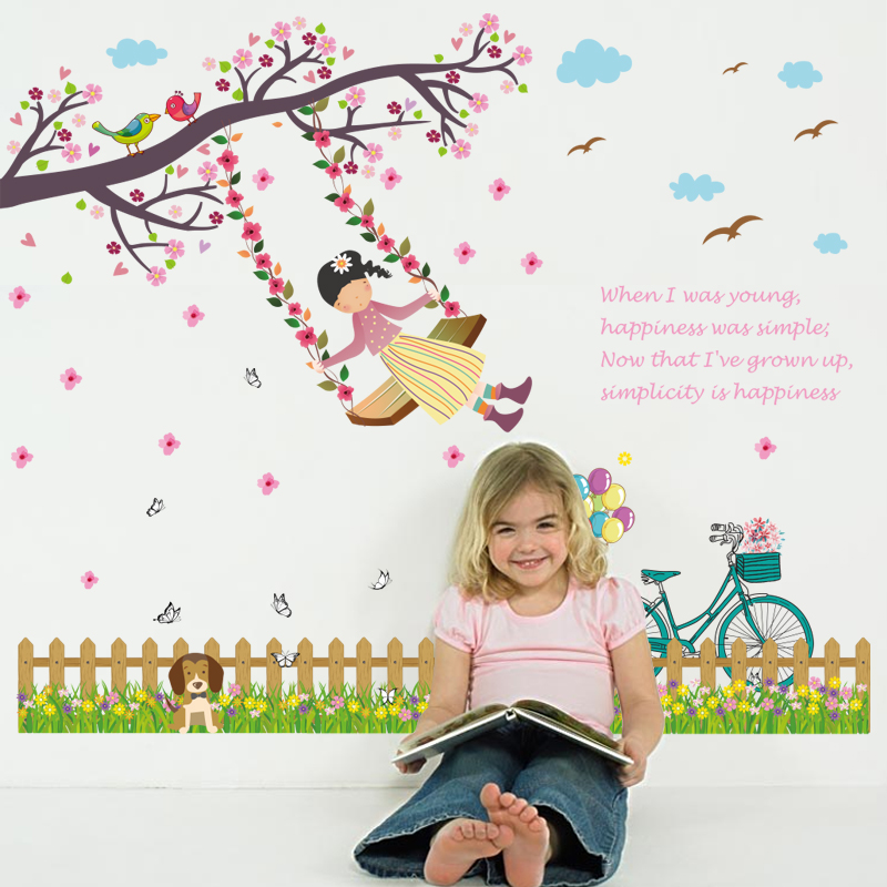 Zs Sticker Cute Girl Wall Stickers Wall Stickers for Kids Room Baby Kids Sticker Nursery Decor Home Decor