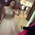 Abendkleider 2017 luxo tulle bola vestidos fromal vestido de dubai 2 peças de cristal frisado longo prom dress árabe dress robe de soiree