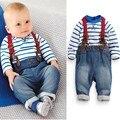 Kids Fashion clothing set baby boy Europe casual suit children clothes Long sleeve Stripe Tshirt+Straps pants boys 2 pcs clothes