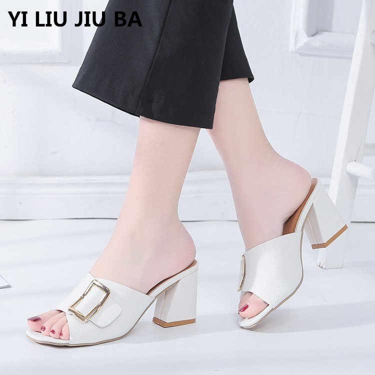 2019 Kadın Ayakkabı Yaz Yüksek Topuklu Peep Toe Bayanlar parti ayakkabıları moda toka Terlik Açık ayakkabı kadın Artı Boyutu 35- 40 ** 606