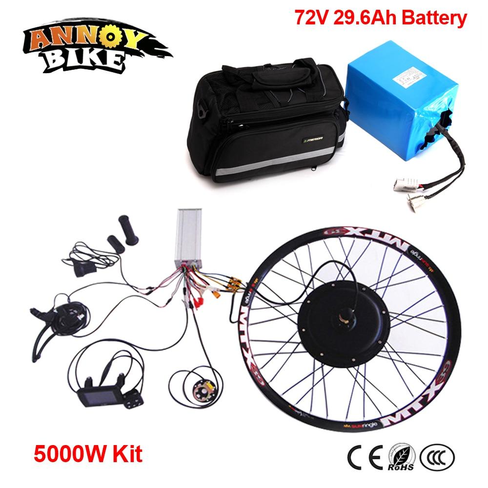 72V 29.6Ah Panasonic Battery Electric DIY Motorcycle DIY 24″ 26″ 72v 5kw Wheel Motor Kit 72v 5000w Electric Bike Conversion Kit
