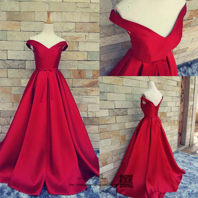 Real Dark Red Long Evening Gowns Satin Plus Size Cheap Prom Dresses ...