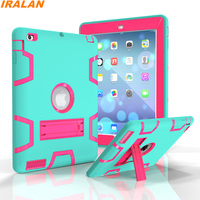2017 Hot Safe Shockproof Silicone+PC Tablet Case For Apple iPad 2 3 4 Armor Heavy Duty Hard Protector Cover+Screen Film+Stylus